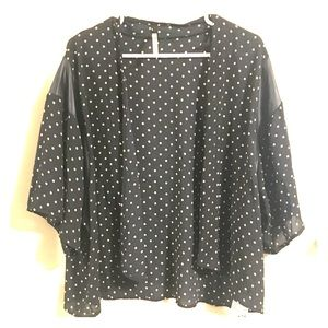 Sweaters - Black w/ gold polka dot bolero faux leather accent